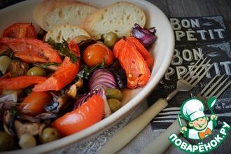 Рецепт: Овощи с шампиньонами печёные