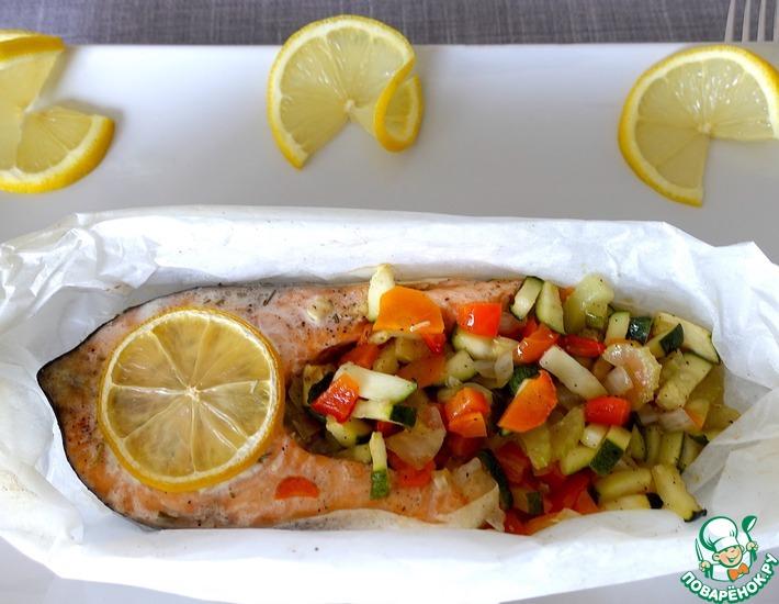 Рецепт: Лосось с овощами в духовке