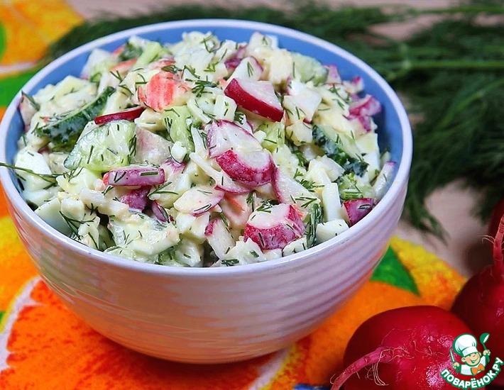 Рецепт: Салат из редиса с крабовыми <span id=