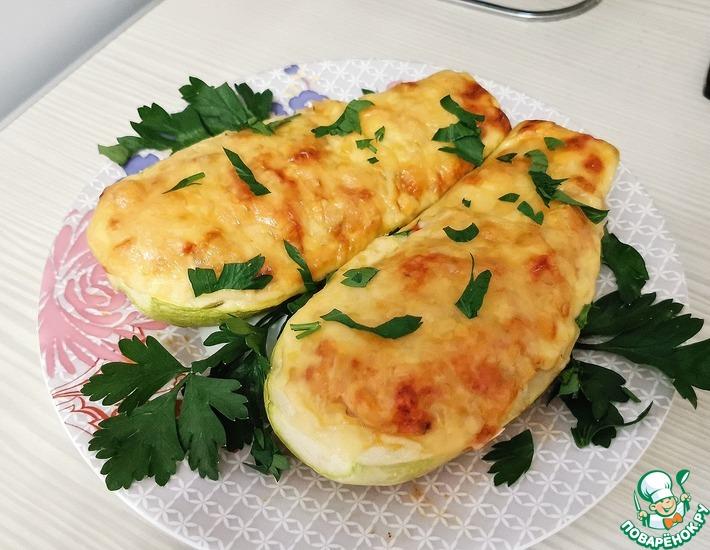 Рецепт: Фаршированные кабачки с пшеном и овощами