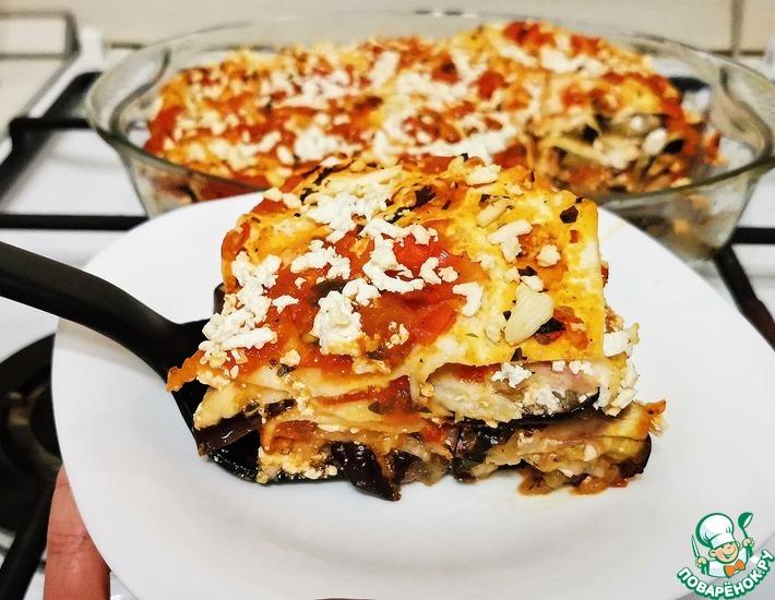 Рецепт: Закусочный пирог из лаваша с баклажанами