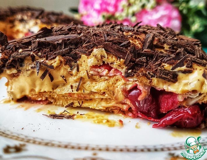 Рецепт: Торт без выпечки Вишнёвое блаженство