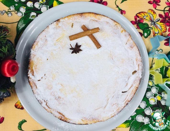 Рецепт: Пирог с яблоками и творожным кремом