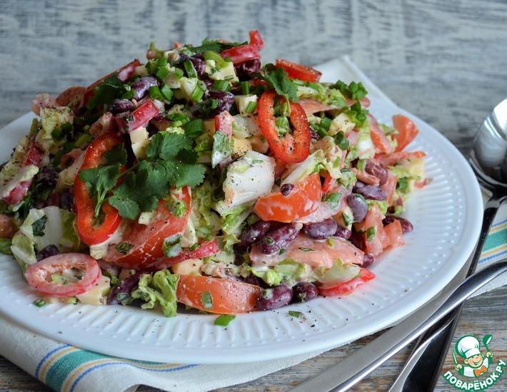 Рецепт: Овощной салат с фасолью и сыром
