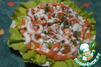 Рецепт: Салат из семги с авокадо и яблоком