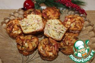 Рецепт: Закусочные кексы из остатков лепешек или лаваша