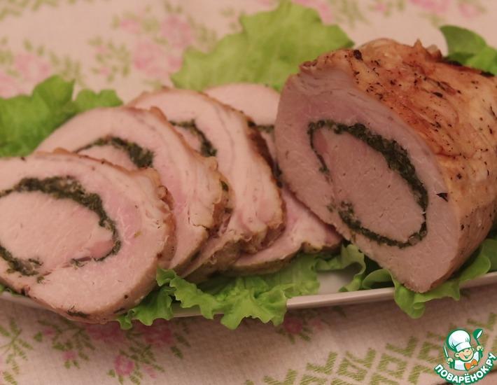 Рецепт: Мясной рулет с пряными травами