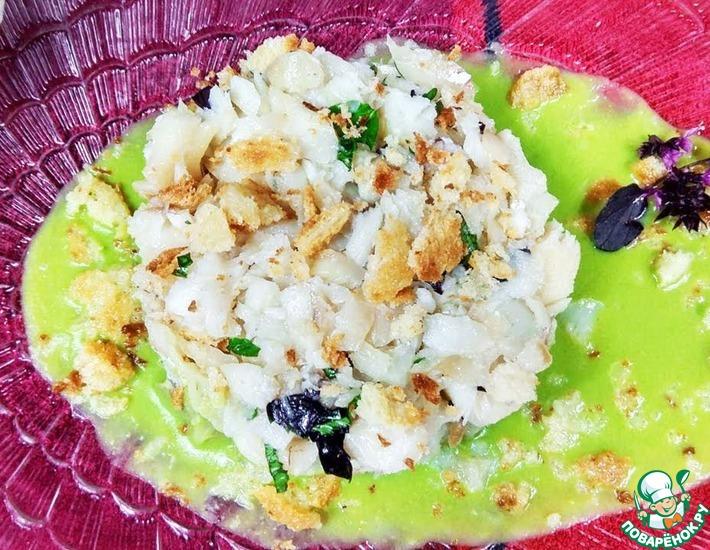 Рецепт: Белая рыба с соусом Зеленый горошек