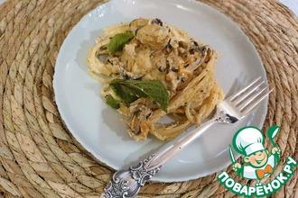 Рецепт: Спагетти с морепродуктами в сырно-сливочном соусе