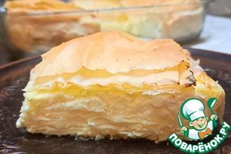 Рецепт: Слоёный творожный пирог с тестом фило