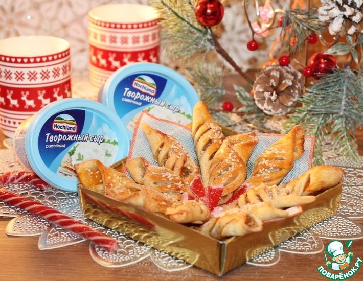 Рецепт: Творожное печенье с абрикосовым вареньем