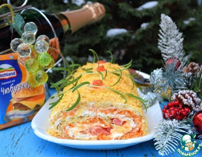 Рецепт: Салат-рулет с форелью и плавленым сыром