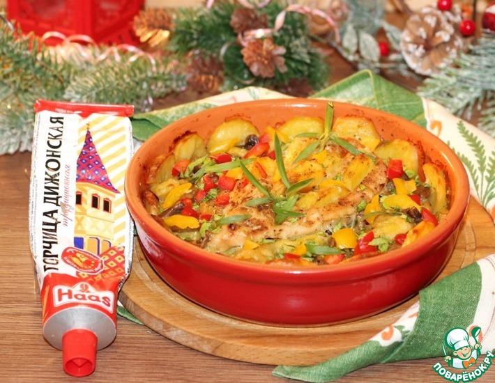Рецепт: Картошка в духовке с курицей, грибами