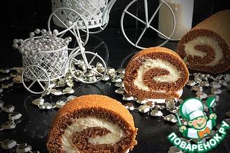 Рецепт: Шоколадный рулет со сметанным кремом