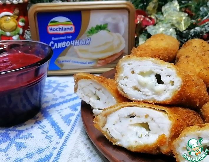 Рецепт: Рулетики со сливочно-сырной начинкой во фритюре