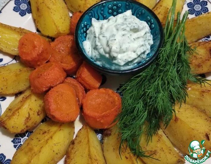 Рецепт: Запеченый картофель с чесночным соусом
