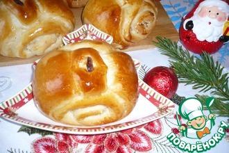 Рецепт: Булочки-рулетики  Новогодние подарки
