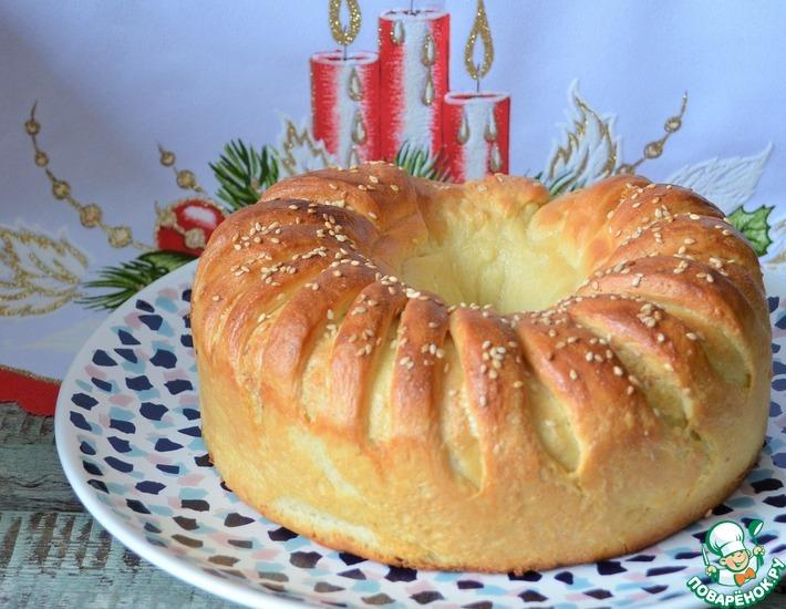Рецепт: Пирог-рулет с сыром и зеленью