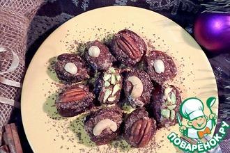 Рецепт: Финики фаршированные с шоколадом и орехами