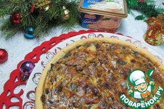 Рецепт: Пирог с грибами и плавленным сыром