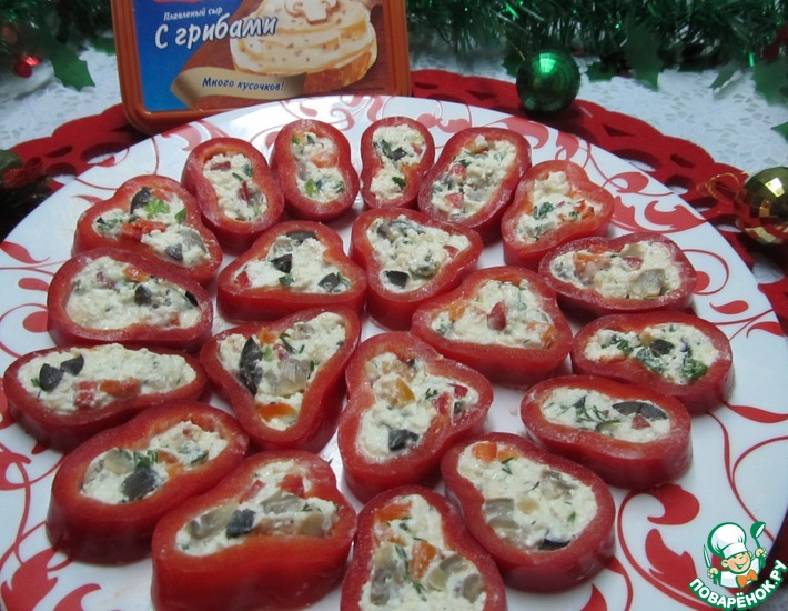 Рецепт: Перцы капиа, фаршированные сырно-грибной начинкой