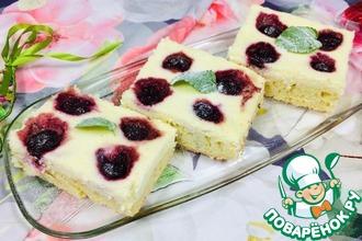 Рецепт: Пирожные Блаженство с творогом и вишней