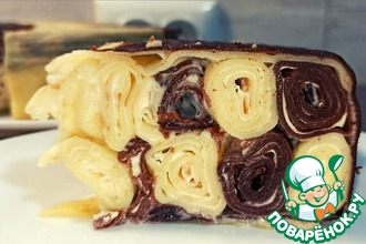 Рецепт: Шоколадно-ванильный блинный торт