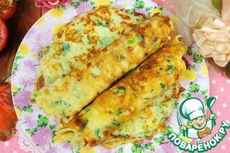 Рецепт: Лепешки с сулугуни, зеленью на сковороде