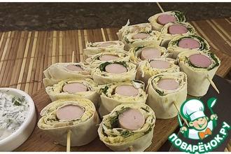 Рецепт: Сосиски в лаваше на шпажках