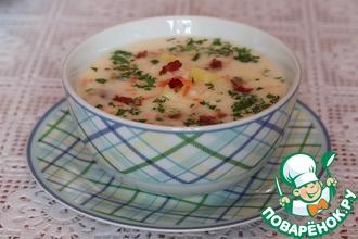 Рецепт: Сырный суп с беконом