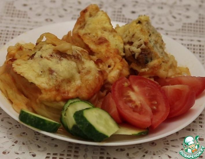 Рецепт: Гнезда с фаршем в духовке
