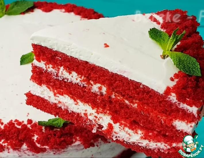 Рецепт: Торт без духовки красный бархат