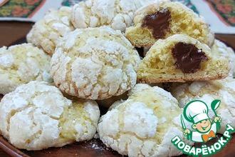 Рецепт: Апельсиновое печенье с шоколадной начинкой