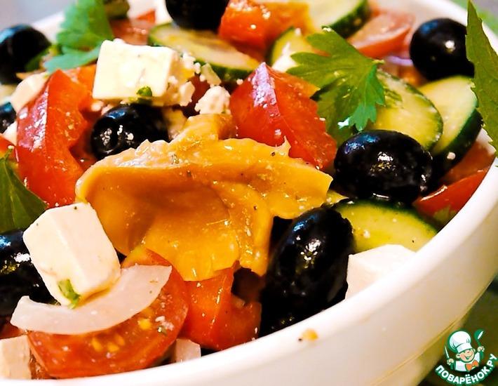 Рецепт: Греческий салат с грибами