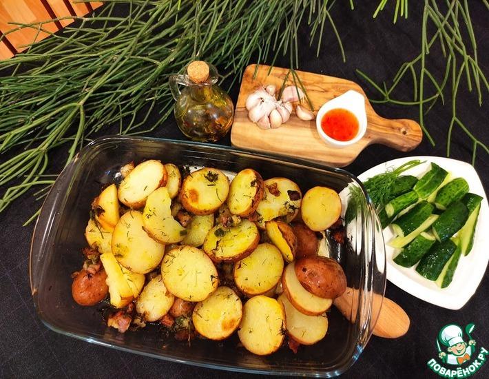 Рецепт: Картофель запеченный со шкварками