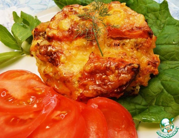 Рецепт: Курица запечённая с тёртым картофелем