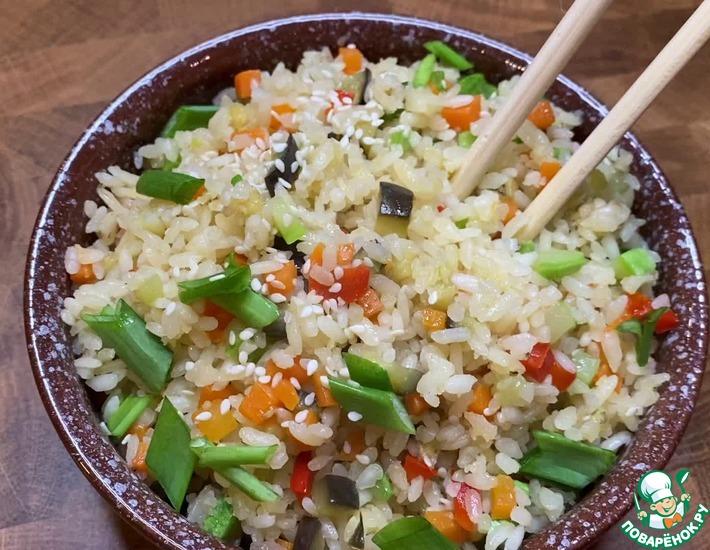 Рецепт: Рис жаренный с овощами Всегда рассыпчатый