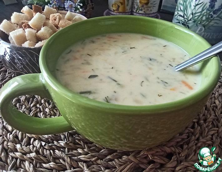 Рецепт: Сырный суп с тертым картофелем