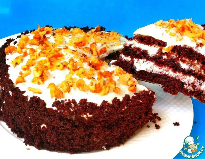 Рецепт: Шоколадный торт Три стакана без миксера, без весов. Сочный без пропитки. Рецепт выпечки на кефире