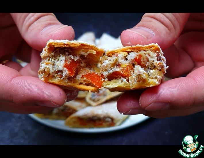Рецепт: Печенье с курагой и орехами