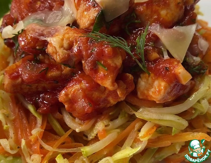 Рецепт: Паста из овощей с куриным филе