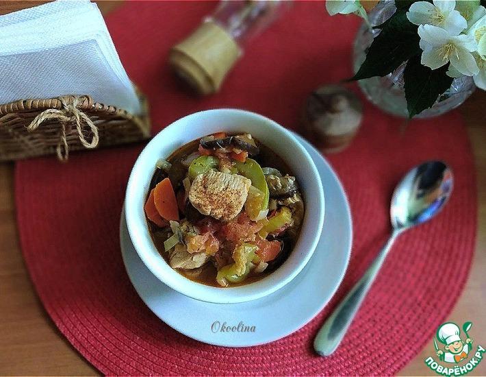 Рецепт: Овощное рагу с куриным филе