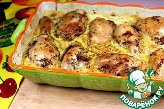 Рецепт: Курица, запеченная с соусом и грибами