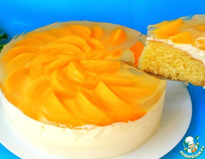 Рецепт: Творожный торт Сенсация с персиками, желе