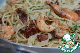Рецепт: Спагетти с креветками