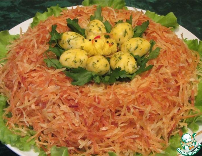 Рецепт: Салат «Гнездо глухаря»