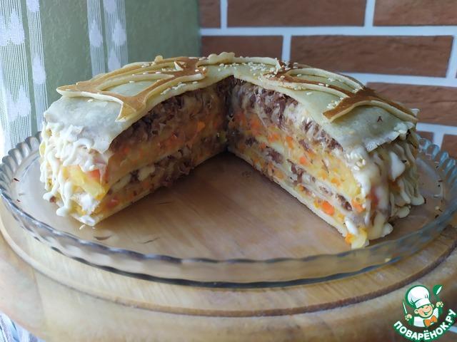 Блинный пирог с говядиной