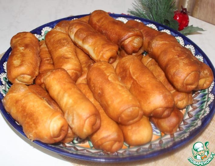 Рецепт: Жареные пирожки с печенью и рисом