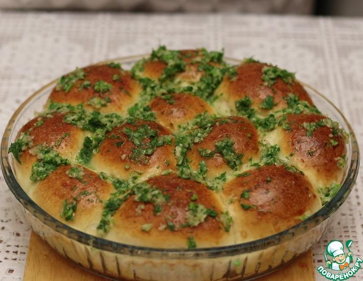 Рецепт: Пампушки с чесноком и зеленью