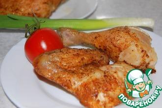 Рецепт: Курица равномерно просоленая целиком в духовке